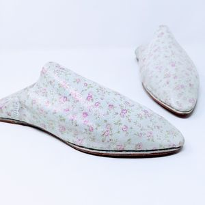 Handmade Moroccan Babouche mules, pink floral